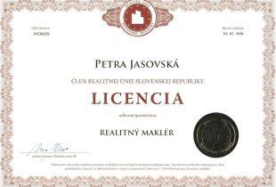 Prvý domov - člen realitnej únie slovenskej republiky - licencia, Petra Jasovská